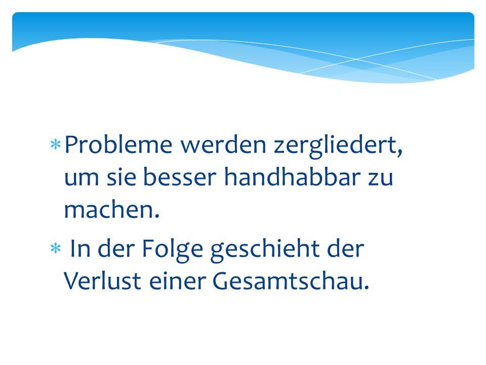 Probleme werden zergliedert, um sie besser handhabbar zu machen. In der Folge geschieht der Verlust einer Gesamtschau.