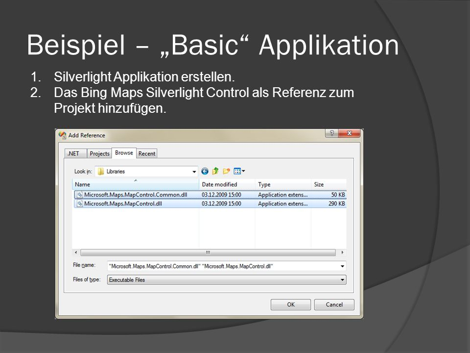 Beispiel – Basic Applikation 1.Silverlight Applikation erstellen.