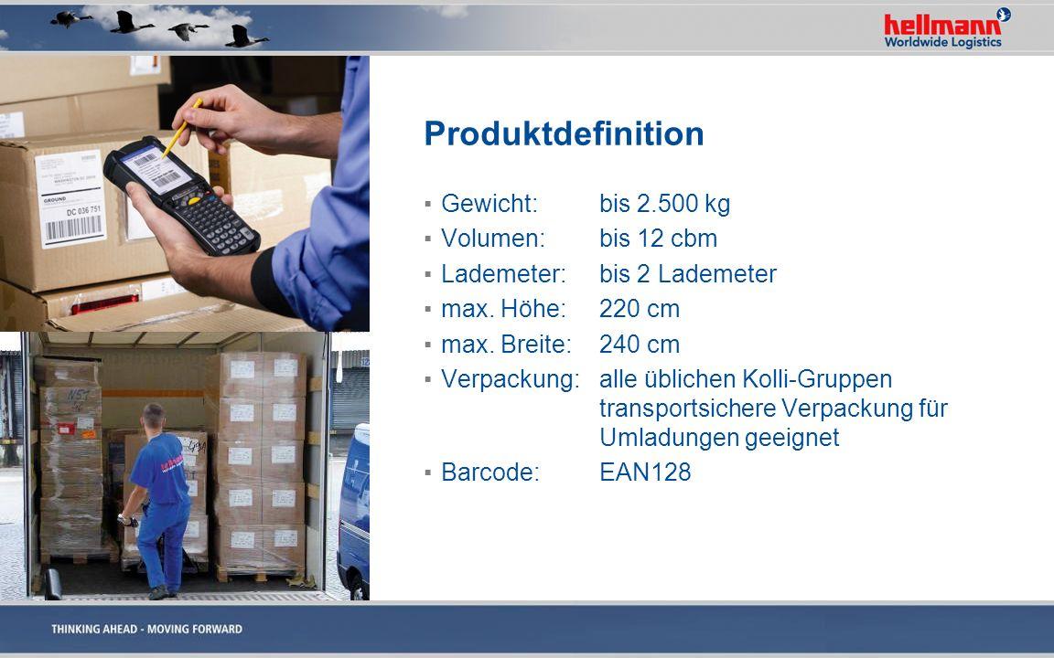 Produktdefinition Gewicht:bis 2.500 kg Volumen:bis 12 cbm Lademeter:bis 2 Lademeter max. Höhe:220 cm max. Breite:240 cm Verpackung: alle üblichen Koll