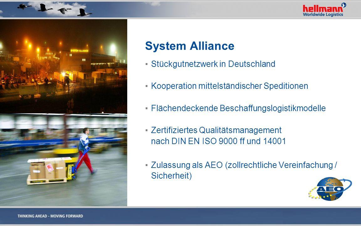 System Alliance Stückgutnetzwerk in Deutschland Kooperation mittelständischer Speditionen Flächendeckende Beschaffungslogistikmodelle Zertifiziertes Q