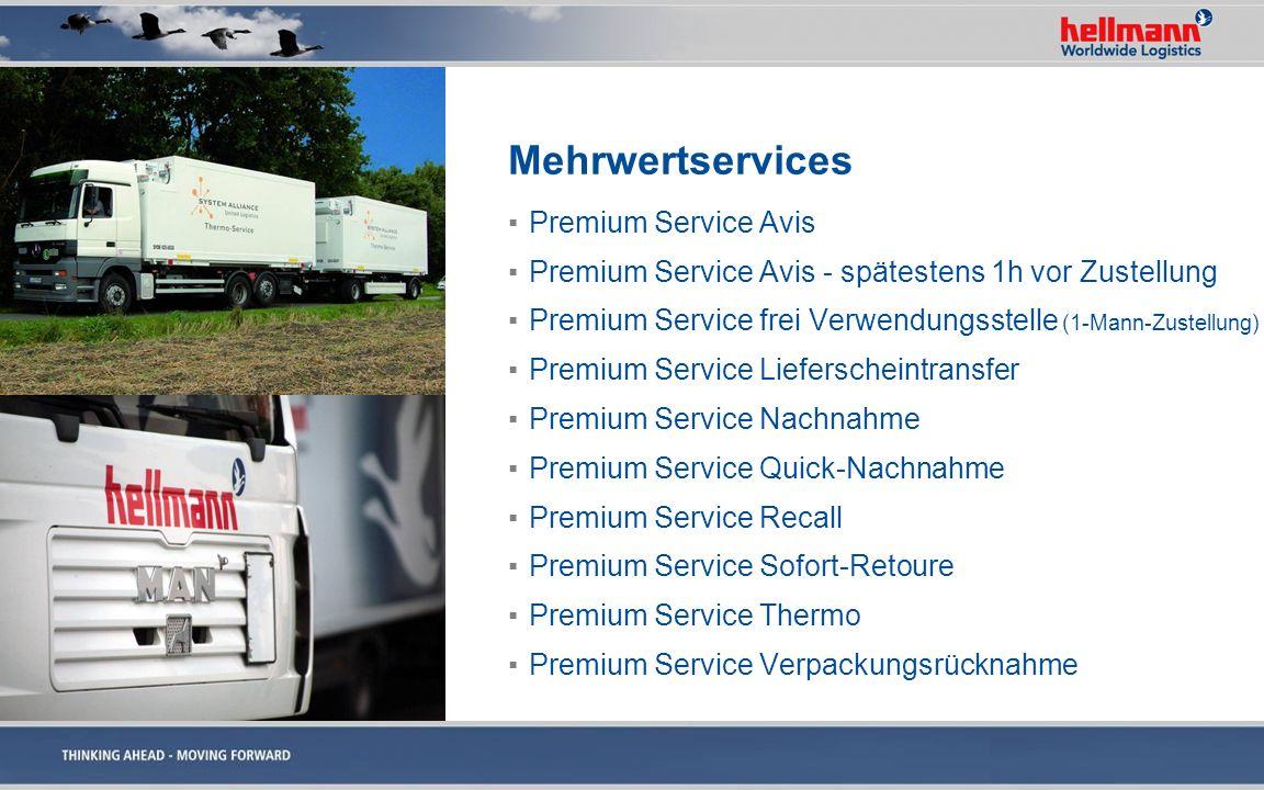 Mehrwertservices Premium Service Avis Premium Service Avis - spätestens 1h vor Zustellung Premium Service frei Verwendungsstelle (1-Mann-Zustellung) P
