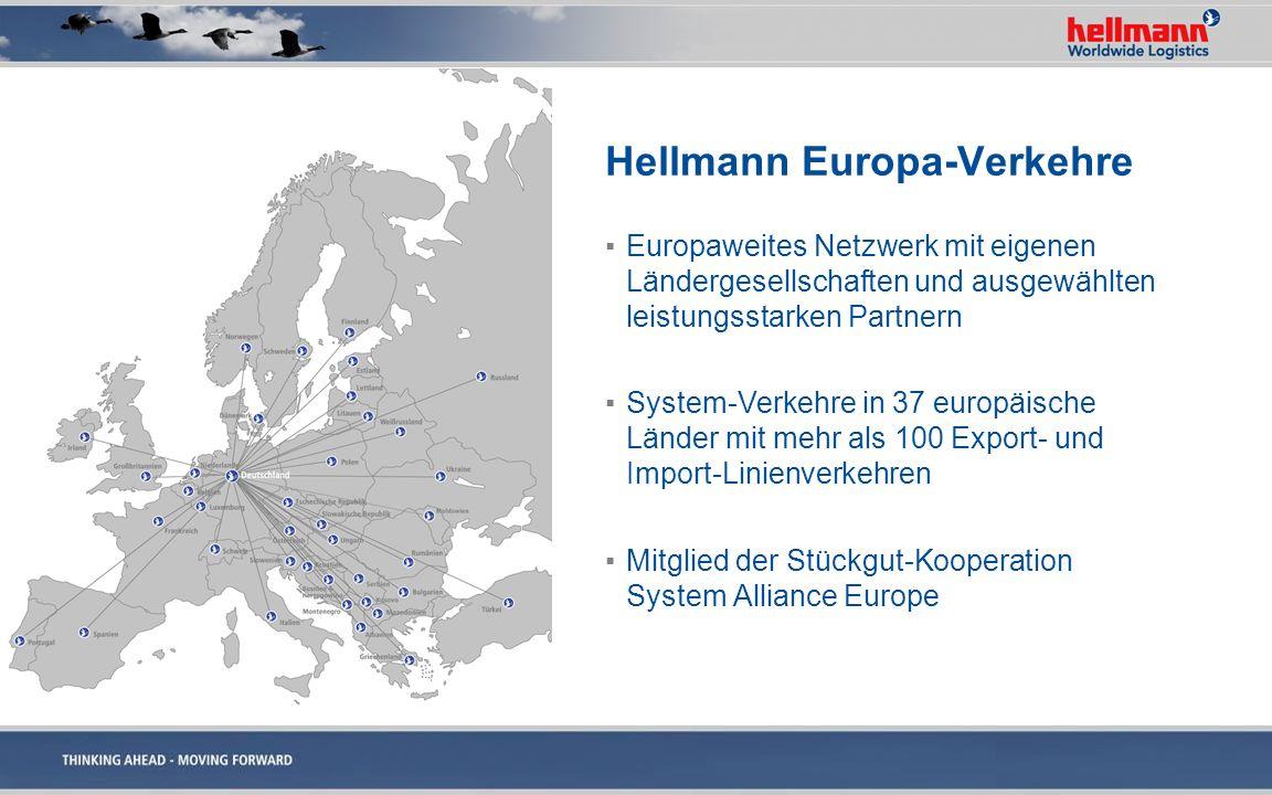 Hellmann Europa-Verkehre Europaweites Netzwerk mit eigenen Ländergesellschaften und ausgewählten leistungsstarken Partnern System-Verkehre in 37 europ