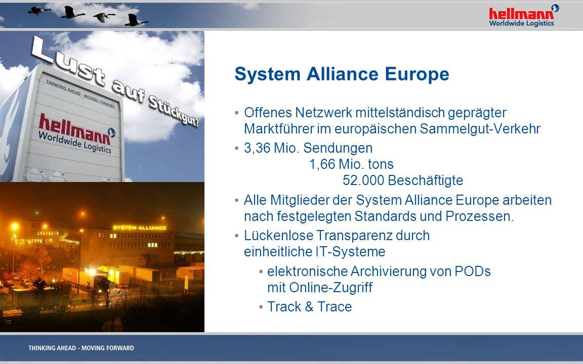 System Alliance Europe Offenes Netzwerk mittelständisch geprägter Marktführer im europäischen Sammelgut-Verkehr 3,36 Mio. Sendungen 1,66 Mio. tons 52.