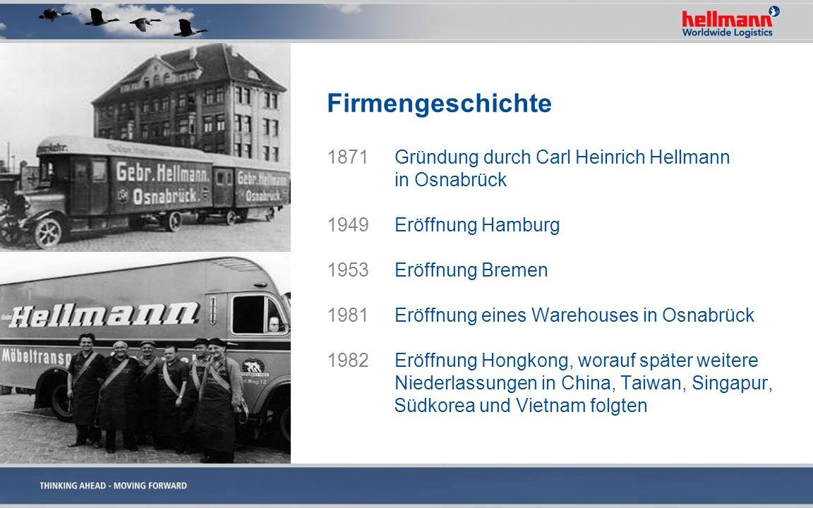 Firmengeschichte 1871Gründung durch Carl Heinrich Hellmann in Osnabrück 1949Eröffnung Hamburg 1953Eröffnung Bremen 1981Eröffnung eines Warehouses in O