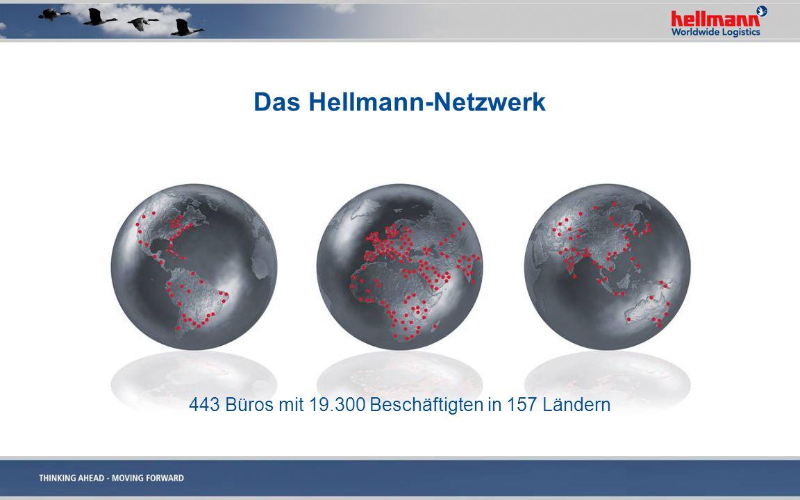 Das Hellmann-Netzwerk 443 Büros mit 19.300 Beschäftigten in 157 Ländern