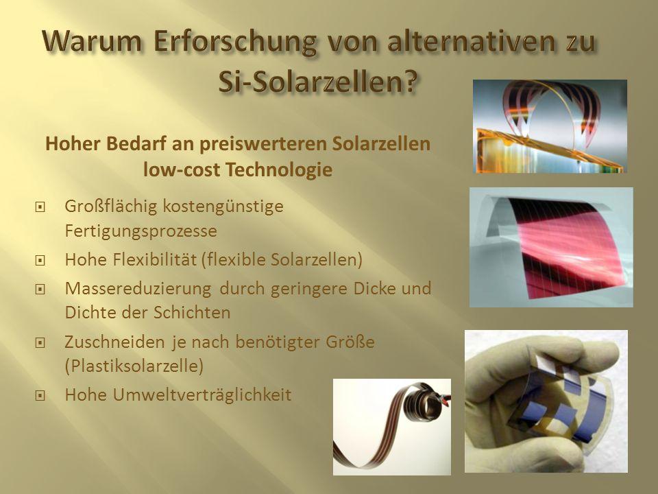 Großflächig kostengünstige Fertigungsprozesse Hohe Flexibilität (flexible Solarzellen) Massereduzierung durch geringere Dicke und Dichte der Schichten
