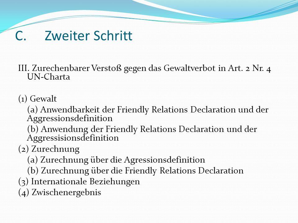 C.Zweiter Schritt III. Zurechenbarer Verstoß gegen das Gewaltverbot in Art. 2 Nr. 4 UN-Charta (1) Gewalt (a) Anwendbarkeit der Friendly Relations Decl