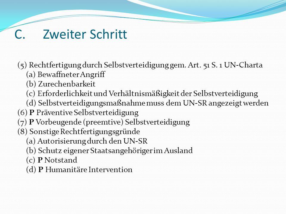 C.Zweiter Schritt (5) Rechtfertigung durch Selbstverteidigung gem. Art. 51 S. 1 UN-Charta (a) Bewaffneter Angriff (b) Zurechenbarkeit (c) Erforderlich