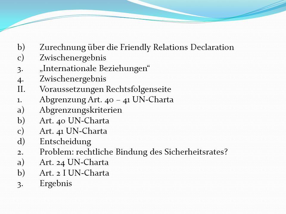 b)Zurechnung über die Friendly Relations Declaration c)Zwischenergebnis 3.Internationale Beziehungen 4.Zwischenergebnis II.Voraussetzungen Rechtsfolge