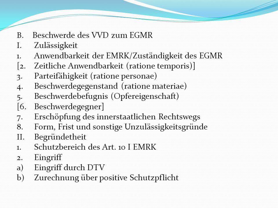 B. Beschwerde des VVD zum EGMR I. Zulässigkeit 1. Anwendbarkeit der EMRK/Zuständigkeit des EGMR [2.Zeitliche Anwendbarkeit (ratione temporis)] 3. Part