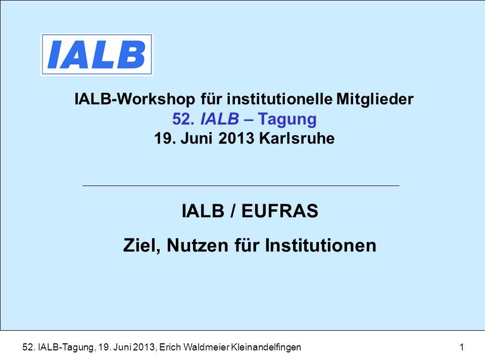 52. IALB-Tagung, 19. Juni 2013, Erich Waldmeier Kleinandelfingen1 IALB-Workshop für institutionelle Mitglieder 52. IALB – Tagung 19. Juni 2013 Karlsru