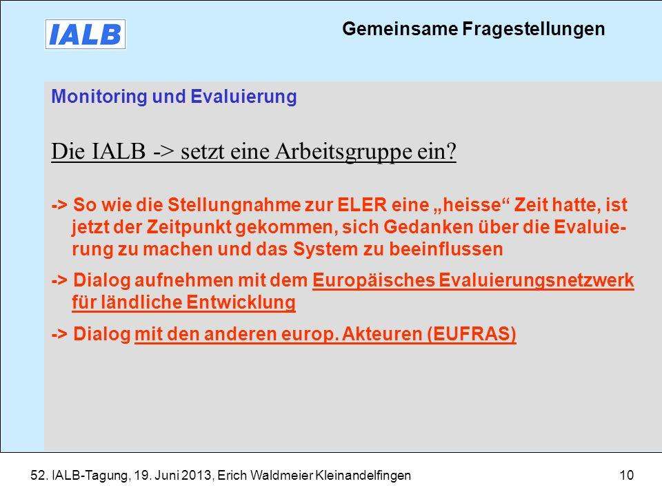 52. IALB-Tagung, 19. Juni 2013, Erich Waldmeier Kleinandelfingen10 Monitoring und Evaluierung Die IALB -> setzt eine Arbeitsgruppe ein? -> So wie die