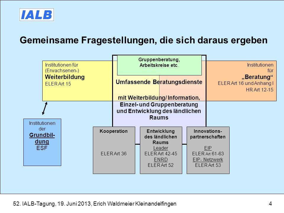 52. IALB-Tagung, 19. Juni 2013, Erich Waldmeier Kleinandelfingen4 Gemeinsame Fragestellungen, die sich daraus ergeben Institutionen für Beratung ELER