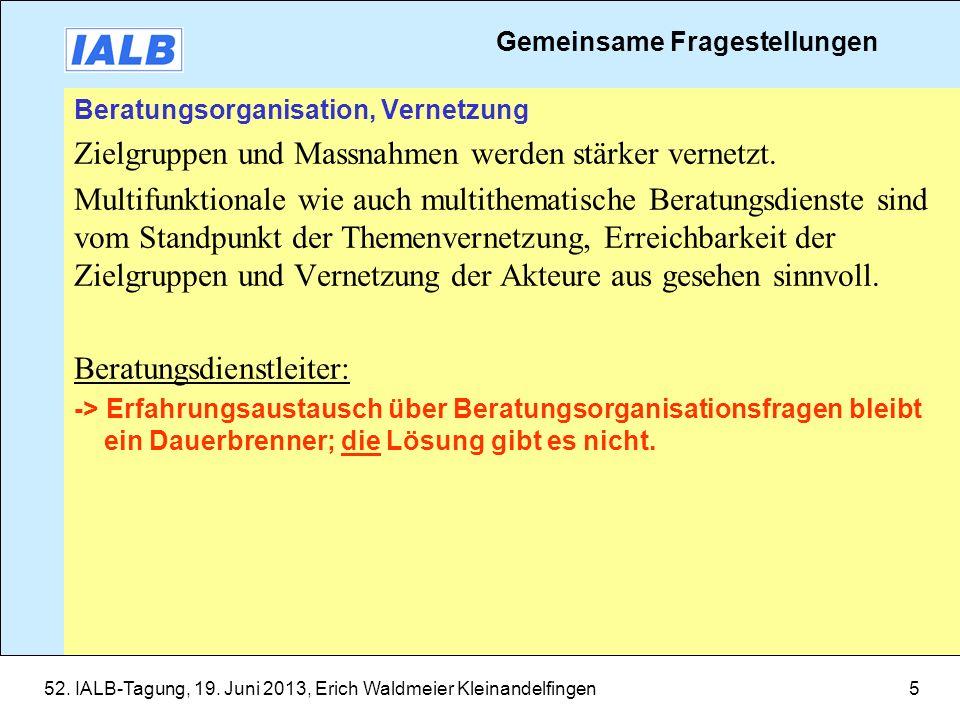 52. IALB-Tagung, 19. Juni 2013, Erich Waldmeier Kleinandelfingen5 Beratungsorganisation, Vernetzung Zielgruppen und Massnahmen werden stärker vernetzt