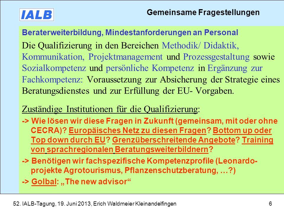 52. IALB-Tagung, 19. Juni 2013, Erich Waldmeier Kleinandelfingen6 Beraterweiterbildung, Mindestanforderungen an Personal Die Qualifizierung in den Ber