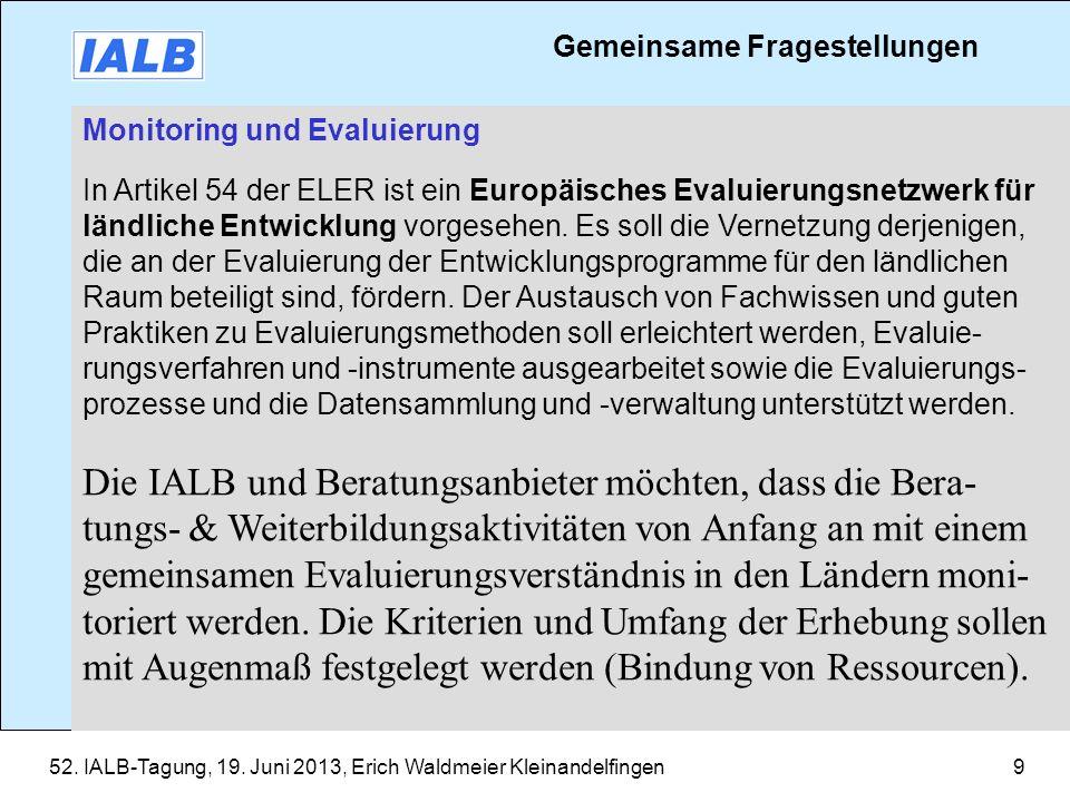 52. IALB-Tagung, 19. Juni 2013, Erich Waldmeier Kleinandelfingen9 Monitoring und Evaluierung In Artikel 54 der ELER ist ein Europäisches Evaluierungsn