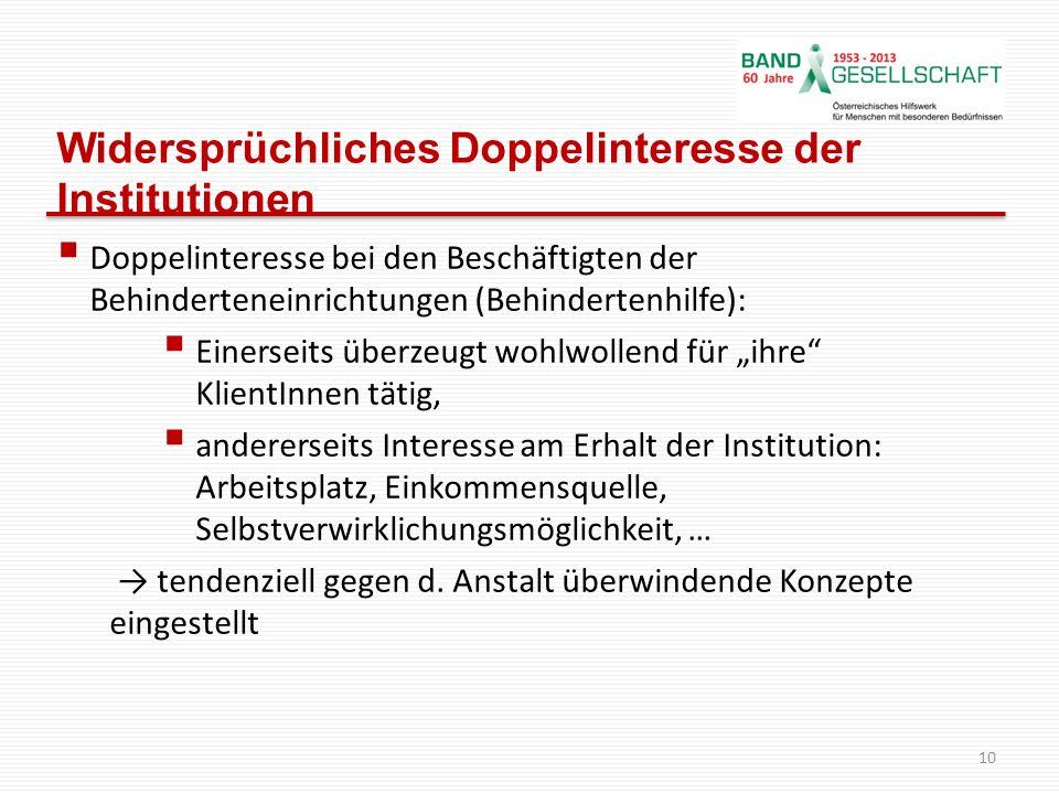 Widersprüchliches Doppelinteresse der Institutionen Doppelinteresse bei den Beschäftigten der Behinderteneinrichtungen (Behindertenhilfe): Einerseits