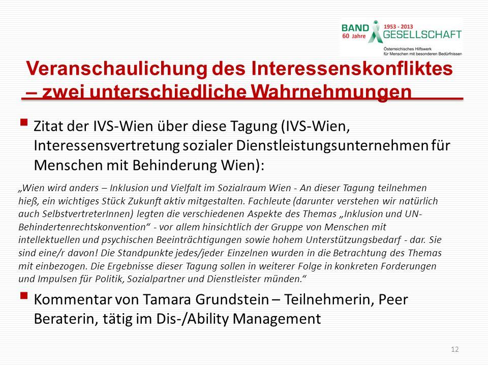 Veranschaulichung des Interessenskonfliktes – zwei unterschiedliche Wahrnehmungen Zitat der IVS-Wien über diese Tagung (IVS-Wien, Interessensvertretun