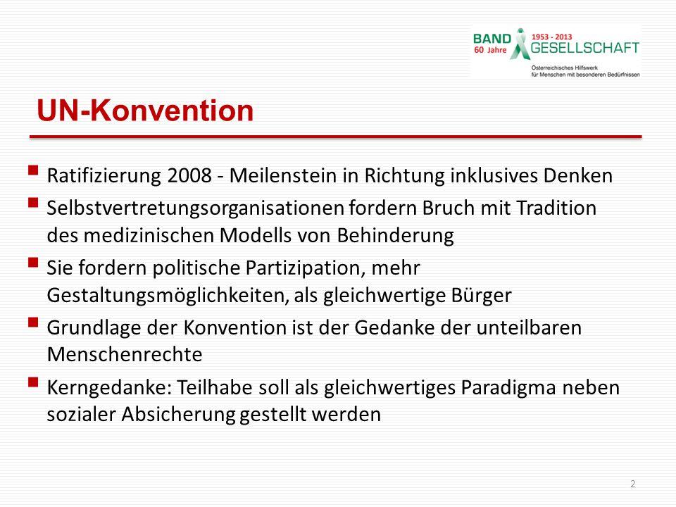 UN-Konvention Ratifizierung 2008 - Meilenstein in Richtung inklusives Denken Selbstvertretungsorganisationen fordern Bruch mit Tradition des medizinis