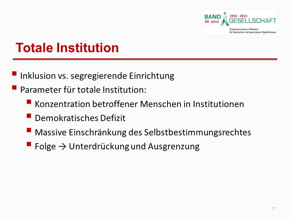 Totale Institution Inklusion vs. segregierende Einrichtung Parameter für totale Institution: Konzentration betroffener Menschen in Institutionen Demok
