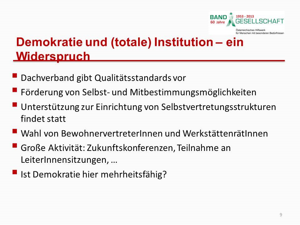 Demokratie und (totale) Institution – ein Widerspruch Dachverband gibt Qualitätsstandards vor Förderung von Selbst- und Mitbestimmungsmöglichkeiten Un