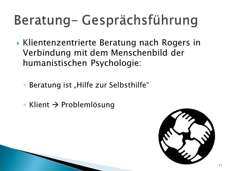Klientenzentrierte Beratung nach Rogers in Verbindung mit dem Menschenbild der humanistischen Psychologie: Beratung ist Hilfe zur Selbsthilfe Klient P