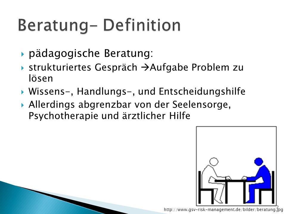pädagogische Beratung: strukturiertes Gespräch Aufgabe Problem zu lösen Wissens-, Handlungs-, und Entscheidungshilfe Allerdings abgrenzbar von der See