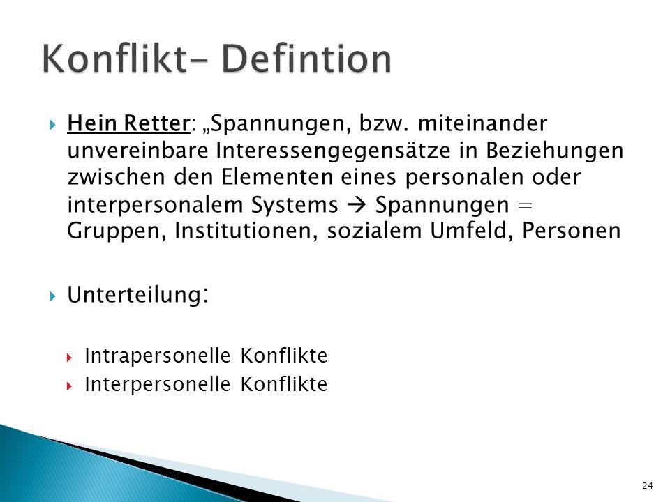 Hein Retter: Spannungen, bzw. miteinander unvereinbare Interessengegensätze in Beziehungen zwischen den Elementen eines personalen oder interpersonale