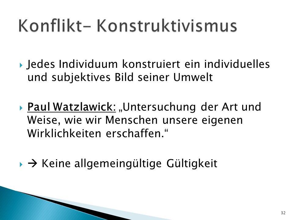 Jedes Individuum konstruiert ein individuelles und subjektives Bild seiner Umwelt Paul Watzlawick: Untersuchung der Art und Weise, wie wir Menschen un