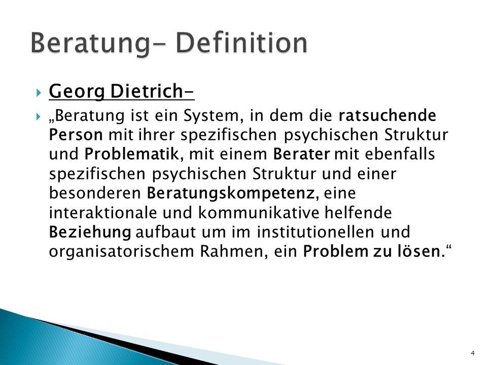 Georg Dietrich- Beratung ist ein System, in dem die ratsuchende Person mit ihrer spezifischen psychischen Struktur und Problematik, mit einem Berater