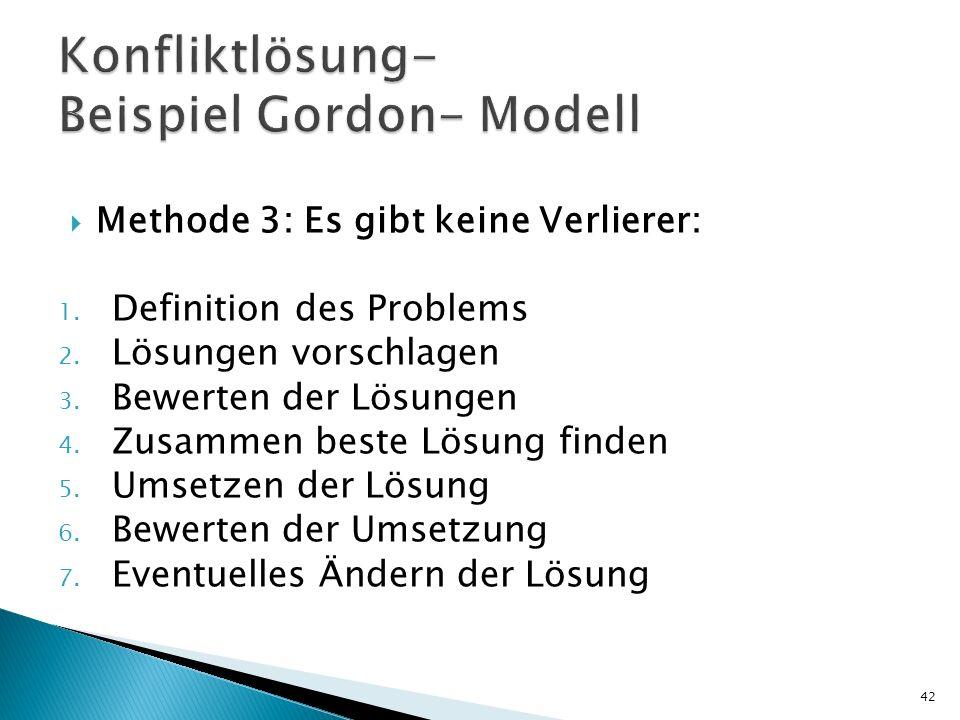 Methode 3: Es gibt keine Verlierer: 1. Definition des Problems 2. Lösungen vorschlagen 3. Bewerten der Lösungen 4. Zusammen beste Lösung finden 5. Ums
