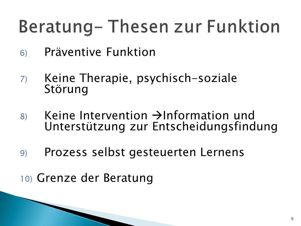 6) Präventive Funktion 7) Keine Therapie, psychisch-soziale Störung 8) Keine Intervention Information und Unterstützung zur Entscheidungsfindung 9) Pr