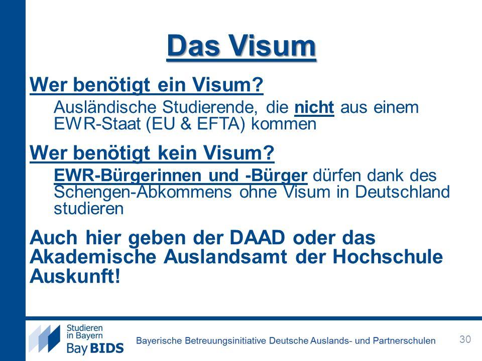 Das Visum Wer benötigt ein Visum? Ausländische Studierende, die nicht aus einem EWR-Staat (EU & EFTA) kommen Wer benötigt kein Visum? EWR-Bürgerinnen