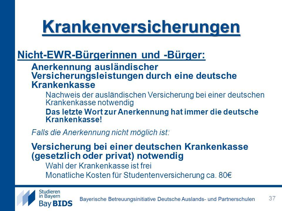 Nicht-EWR-Bürgerinnen und -Bürger: Anerkennung ausländischer Versicherungsleistungen durch eine deutsche Krankenkasse Nachweis der ausländischen Versi