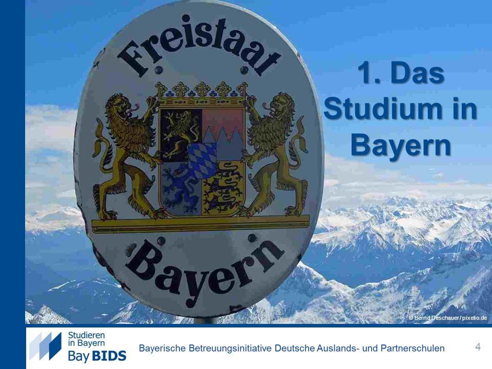 Das Studium in Bayern Bachelor/Masterstudiengänge flächendeckend seit 2010 Bachelor: Regelstudienzeit meistens 6-7 Fachsemester (3 Jahre) Master: Regelstudienzeit meistens 3-4 Fachsemester (2 Jahre) aufbauend zum Bachelor, thematisch spezialisierter Einige Studiengänge haben andere Abschlüsse.