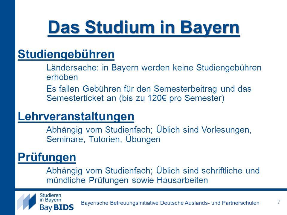 Sprachkenntnisse Sprachnachweis durch eine Sprachprüfung, u.a.: Test DaF (Deutsch als Fremdsprache) Stufe 4 oder 5 in allen Teilbereichen Weltweite Testzentren DSH (DSH2) Deutsche Sprachprüfung für den Hochschulzugang ausländischer Studienbewerberinnen und -bewerber Testzentren an deutschen Hochschulen Sprachprüfungen an einem Goethe-Institut Kleines oder großes Sprachdiplom Zentrale Oberstufenprüfung (ZOP) Ausführliche Informationen finden Sie auf der BayBIDS Homepage, unter www.sprachnachweis.de oder direkt bei der Hochschulewww.sprachnachweis.de 28