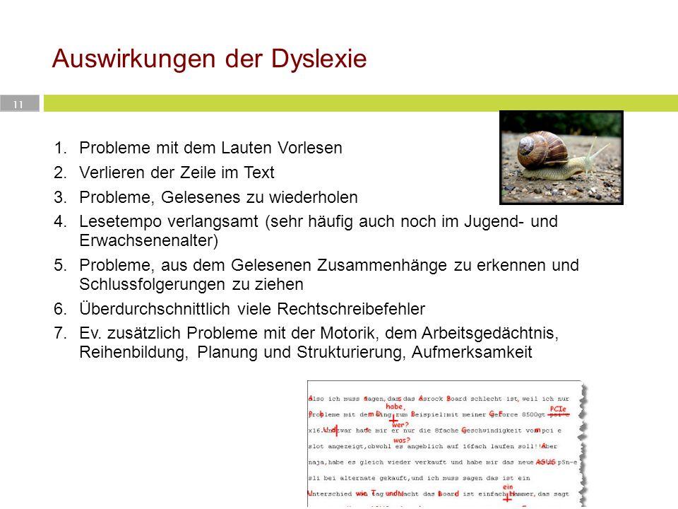 Auswirkungen der Dyslexie 11 1.Probleme mit dem Lauten Vorlesen 2.Verlieren der Zeile im Text 3.Probleme, Gelesenes zu wiederholen 4.Lesetempo verlang