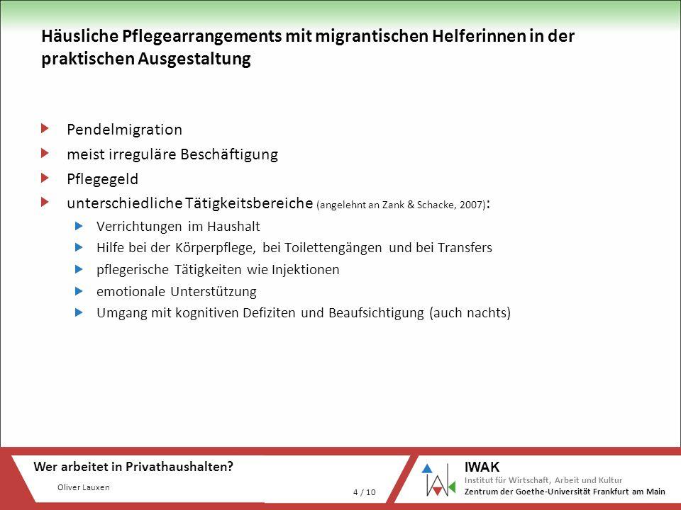 Oliver Lauxen Wer arbeitet in Privathaushalten? 4 / 10 IWAK Institut für Wirtschaft, Arbeit und Kultur Zentrum der Goethe-Universität Frankfurt am Mai