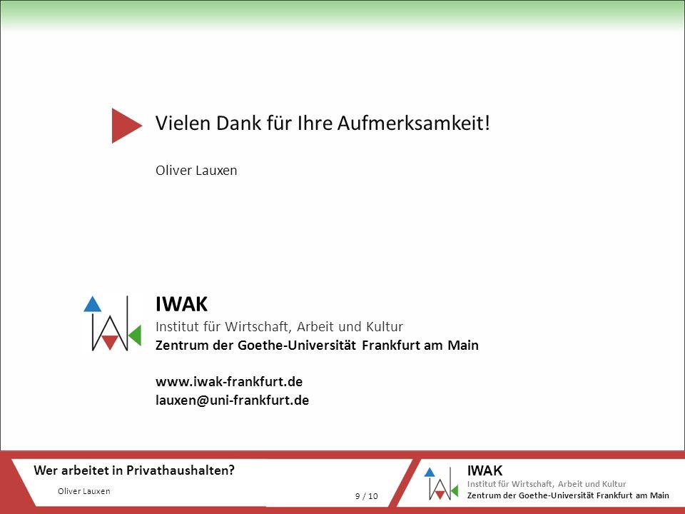 Oliver Lauxen Wer arbeitet in Privathaushalten? 9 / 10 IWAK Institut für Wirtschaft, Arbeit und Kultur Zentrum der Goethe-Universität Frankfurt am Mai
