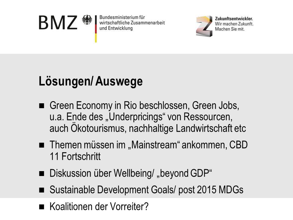 Lösungen/ Auswege Green Economy in Rio beschlossen, Green Jobs, u.a.