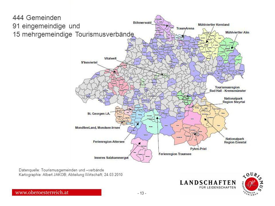 - 13 - Datenquelle: Tourismusgemeinden und –verbände Kartographie: Albert JAKOB; Abteilung Wirtschaft; 24.03.2010 444 Gemeinden 91 eingemeindige und 1