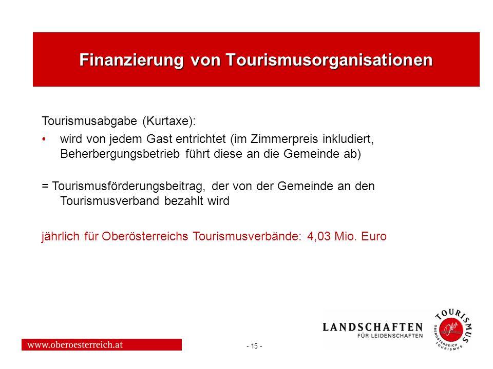 - 15 - Finanzierung von Tourismusorganisationen Tourismusabgabe (Kurtaxe): wird von jedem Gast entrichtet (im Zimmerpreis inkludiert, Beherbergungsbet
