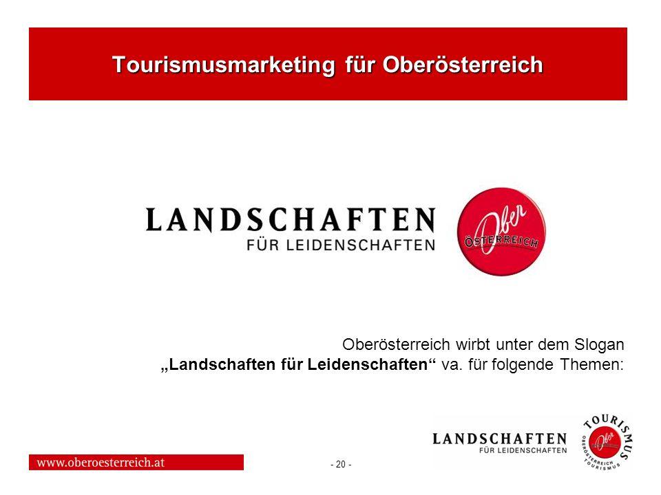 - 20 - Tourismusmarketing für Oberösterreich Oberösterreich wirbt unter dem Slogan Landschaften für Leidenschaften va. für folgende Themen:
