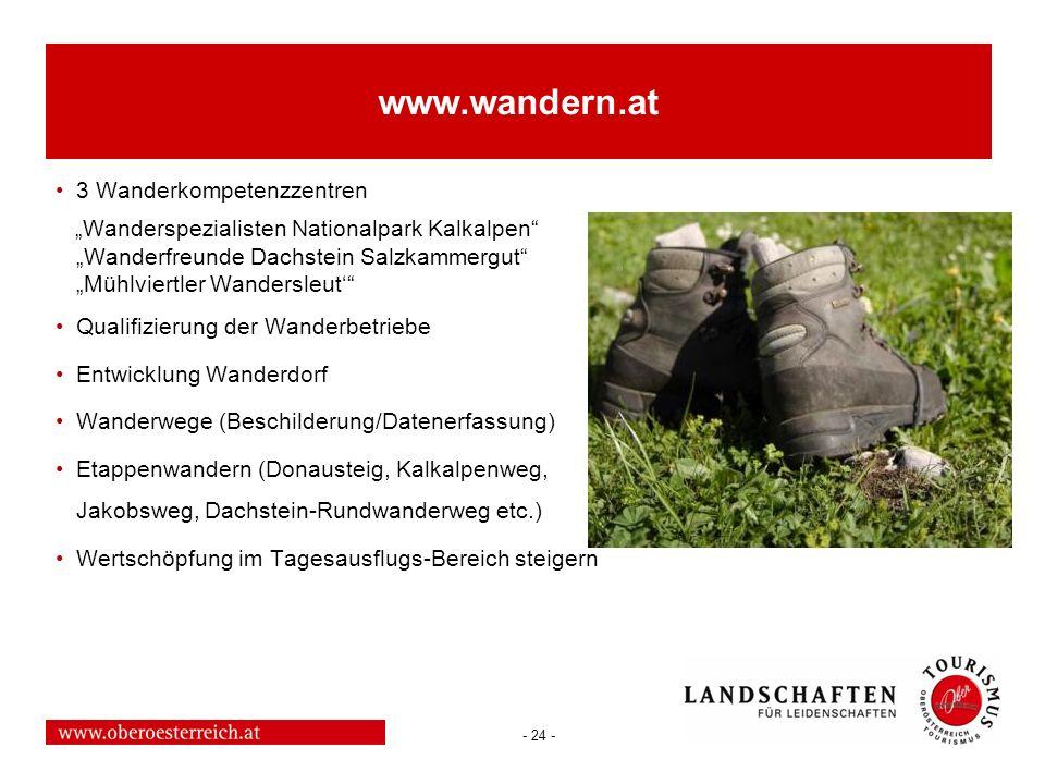 - 24 - www.wandern.at 3 Wanderkompetenzzentren Wanderspezialisten Nationalpark Kalkalpen Wanderfreunde Dachstein Salzkammergut Mühlviertler Wandersleu
