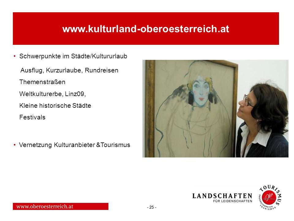 - 25 - www.kulturland-oberoesterreich.at Schwerpunkte im Städte/Kultururlaub Ausflug, Kurzurlaube, Rundreisen Themenstraßen Weltkulturerbe, Linz09, Kl