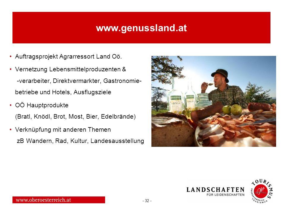 - 32 - www.genussland.at Auftragsprojekt Agrarressort Land Oö. Vernetzung Lebensmittelproduzenten & -verarbeiter, Direktvermarkter, Gastronomie- betri
