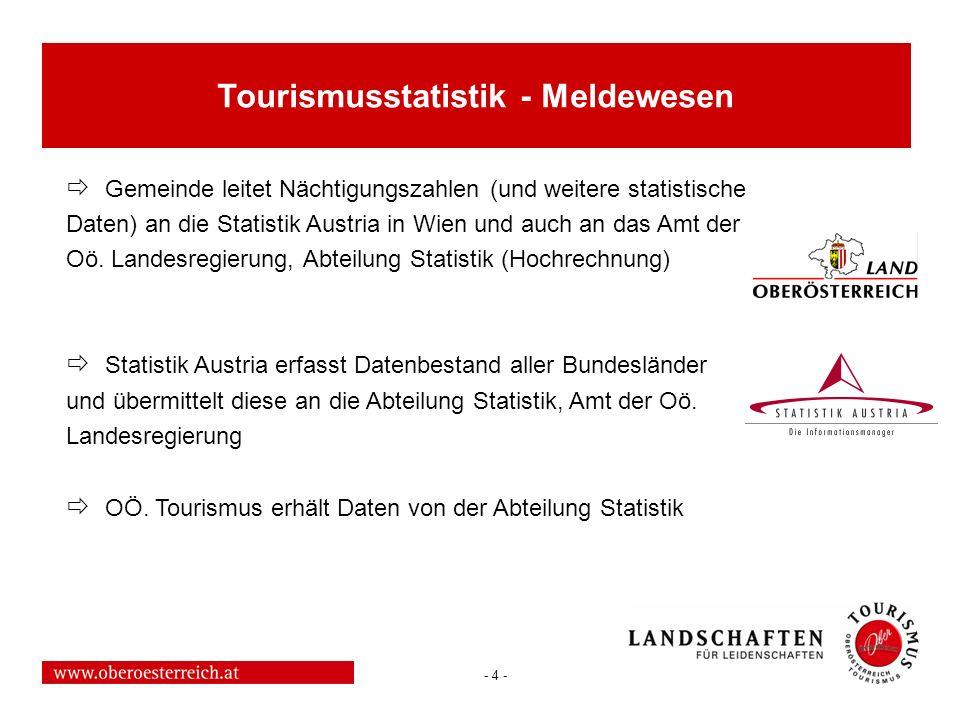 - 4 - Gemeinde leitet Nächtigungszahlen (und weitere statistische Daten) an die Statistik Austria in Wien und auch an das Amt der Oö. Landesregierung,