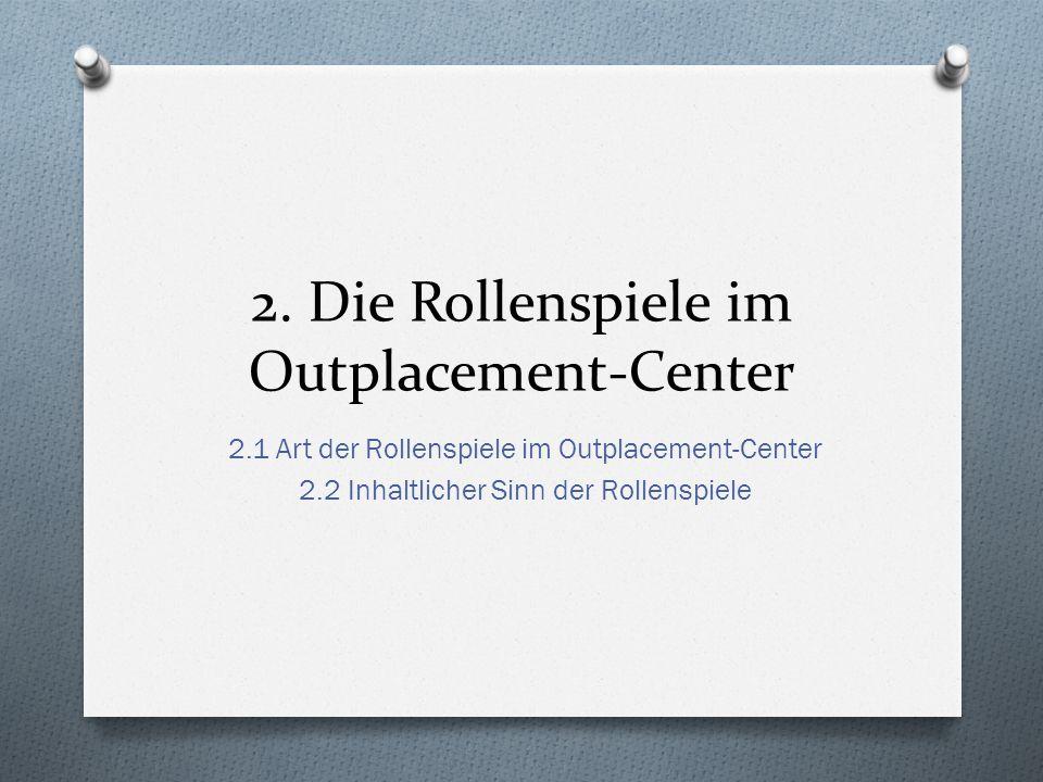 2. Die Rollenspiele im Outplacement-Center 2.1 Art der Rollenspiele im Outplacement-Center 2.2 Inhaltlicher Sinn der Rollenspiele