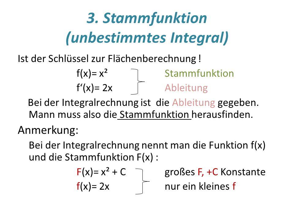 3.Stammfunktion (unbestimmtes Integral) Ist der Schlüssel zur Flächenberechnung .