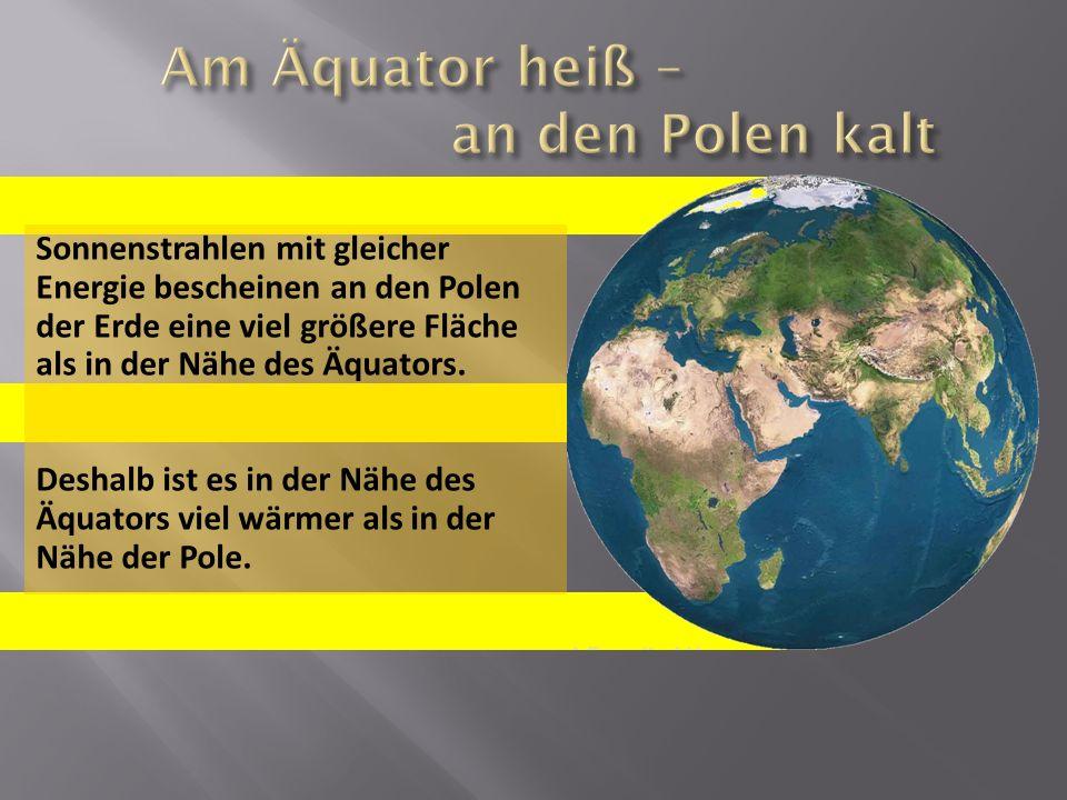 Sonnenstrahlen mit gleicher Energie bescheinen an den Polen der Erde eine viel größere Fläche als in der Nähe des Äquators. Deshalb ist es in der Nähe